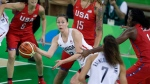 Canada guard Kim Gaucher passes while defended by the United States during the second half of a women's basketball game at the Youth Center at the 2016 Summer Olympics in Rio de Janeiro, Brazil, Friday, Aug. 12, 2016. Two-time Olympian Gaucher and WNBA rookie Bridget Carleton headline Canada's women's basketball team for the FIBA AmeriCup 2019. THE CANADIAN PRESS/AP/Carlos Osorio