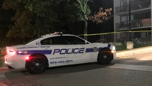 A police cruiser is seen outside 5 Kings Cross after an incident on Sept. 20, 2019. (Mike Nugyen/CP24)