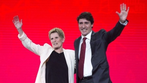 Prime Minister Justin Trudeau and Ontario Premier Kathleen Wynne wave to the crowd at the federal Liberal national convention in Halifax on Friday, April 20, 2018. A conservative political advocacy group that was instrumental in taking down the Liberals in Ontario is going national, aiming to do toTrudeau what it did to Wynne. THE CANADIAN PRESS/Andrew Vaughan