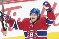 Montreal Canadiens' Ryan Poehling celebrates after scoring against the Toronto Maple Leafs during first period NHL hockey action in Montreal, Saturday, April 6, 2019. THE CANADIAN PRESS/Graham Hughes