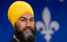 NDP leader Jagmeet Singh is seen during a campaign speech in Sherbrooke, Que., Sunday, September 15, 2019. THE CANADIAN PRESS/Adrian Wyld