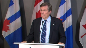 Mayor John Tory said Liberals' pledge to give municipalities right to ban handguns is an important step in fighting gun violence. (CP24)