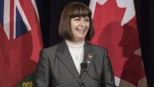 Marie-France Lalonde was named late Thursday night as the Liberal Party of Canada candidate for Orleans, the same riding she currently holds provincially. Marie-France Lalonde, then-Ontario Minister for Government Services, smiles during a news conference at the Queens Park Legislature in Toronto on Thursday, Nov. 1, 2017. THE CANADIAN PRESS/Chris Young