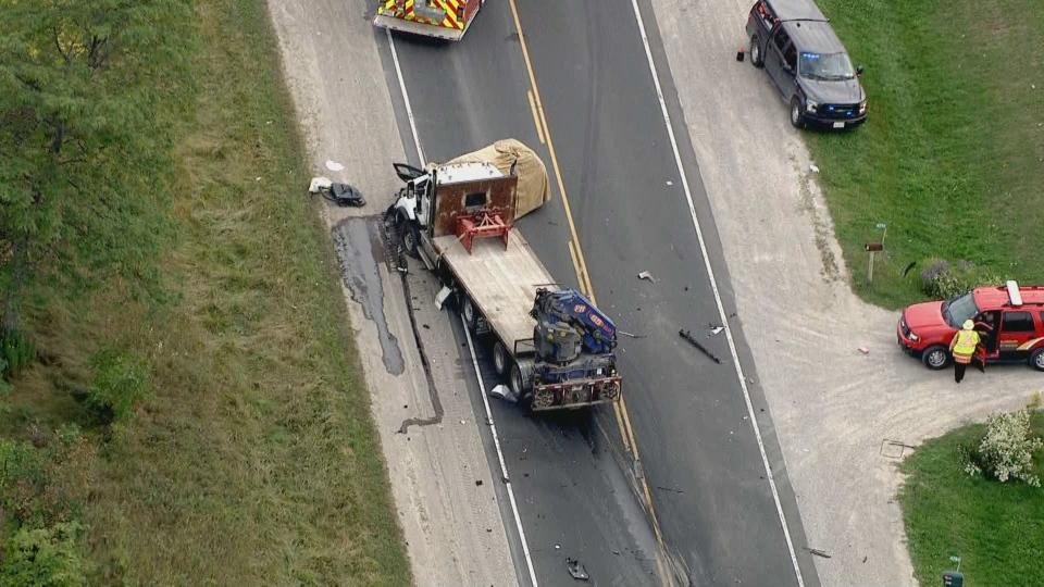 Police investigate a serious crash in Bradford on Sept. 20. (CTV News Toronto)