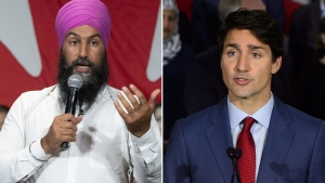 A composite image of Jagmeet Singh and Justin Trudeau.
