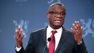 FILE - In this Dec. 11, 2018, file photo, Nobel Peace Prize laureate Dr. Denis Mukwege speaks to the media during a news conference in Oslo, Norway. The Nobel Peace-prize winning surgeon whose hospital in war-torn Congo has treated over 50,000 victims of sexual violence has launched a fund with the goal of providing reparations for survivors of conflicts around the world. (Lise Aserud/NTB scanpix via AP, File)