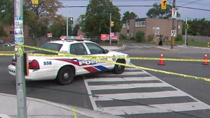 Police investigate a stabbing at Keele Street and St. Regis Crescent Sunday September 22, 2019.