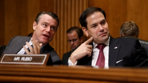 Sen. Todd Young, R-Ind., left, speaks with Sen. Marco Rubio, R-Fla., co-chair of the Congressional Executive Commission on China (CECC), during a hearing to examine developments in Hong Kong, Tuesday, Sept. 17, 2019, on Capitol Hill in Washington. (AP Photo/Jacquelyn Martin)