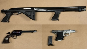 A 12 gauge shotgun, a revolver, and a handgun were recovered by Peel police in a Brampton home on Saturday. (Peel police)