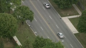 Police are seen after an elderly man was struck in Scarborough on Sept. 6, 2019. (Chopper 24)