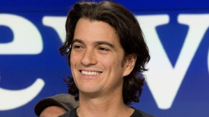 FILE - In this Jan. 16, 2018 file photo, Adam Neumann, co-founder and CEO of WeWork, attends the opening bell ceremony at Nasdaq, in New York. Neumann is stepping aside amid questions about the company's finances. The New York-based office sharing company said Neumann will remain on its board as non-executive chairman. (AP Photo/Mark Lennihan, File)