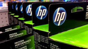 This Aug. 15, 2019, photo shows the HP logo on Hewlett-Packard printer ink cartridges at a store in Manchester, N.H. The head of HP Canada says the country is not investing enough in the technology sector to become a global leader in the space. THE CANADIAN PRESS/AP/Charles Krupa
