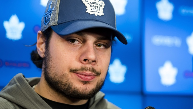 Toronto Maple Leafs centre Auston Matthews speaks to reporters after a locker clean out at the Scotiabank Arena in Toronto, on Thursday, April 25, 2019.  THE CANADIAN PRESS/Christopher Katsarov