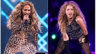 This combination photo shows actress-singer Jennifer Lopez performing at the Directv Super Saturday Night in Minneapolis on Feb. 3, 2018, left, and Shakira performing at Madison Square Garden in New York on Aug. 10, 2018. The NFL, Pepsi and Roc Nation announced Thursday, Sept. 26, 2019, that Lopez and Shakira will perform at the 2020 Pepsi Super Bowl Halftime Show on Feb. 2, 2020 at Hard Rock Stadium in Miami Gardens, Fla. (Photo by Michael Zorn/Invision/AP)