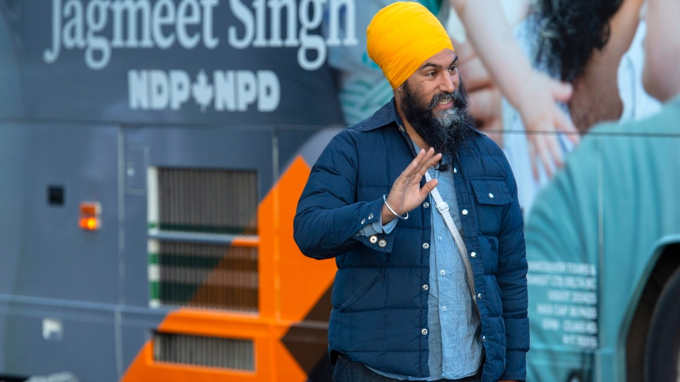 NDP Leader Jagmeet Singh waves as he arrives to make a campaign stop in Ladysmith, B.C. on Friday, Sept. 27, 2019. THE CANADIAN PRESS/Andrew Vaughan