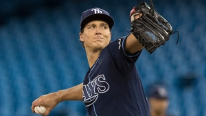 Tampa Bay Rays starting pitcher Tyler Glasnow throws against the Toronto Blue Jays during the first inning of their American League MLB baseball game in Toronto on Friday, September 27, 2019. THE CANADIAN PRESS/Fred Thornhill