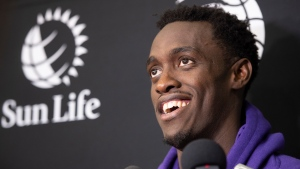 Toronto Raptors' Pascal Siakam smiles as he responds to reporters questions during the Raptors training camp practice Monday, September 30, 2019 at Laval University in Quebec City. THE CANADIAN PRESS/Jacques Boissinot