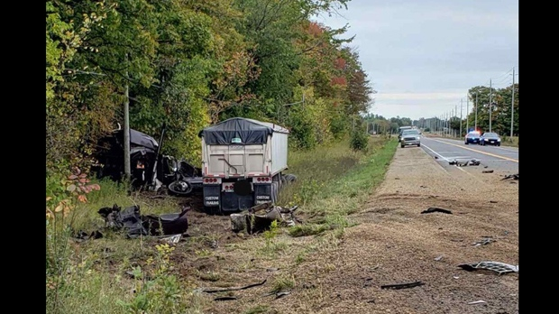 The scene of a Highway 89 crash between a car and a transport truck west of Shelburne is shown on Sept. 30, 2019. (Viewer submitted)