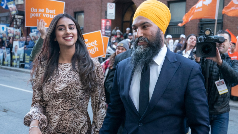 NDP Leader Jagmeet Singh arrives for the leaders debate accompanied by his wife Gurkiran in Montreal on Wednesday, Oct. 2, 2019. THE CANADIAN PRESS/Paul Chiasson