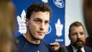 Toronto Maple Leafs defenceman Tyson Barrie speaks to media, in Toronto, on Thursday, September 12, 2019. In most cities and on most teams, acquiring a dynamic offensive defenceman in a blockbuster trade would dominate training camp chatter and make waves on opening night. (THE CANADIAN PRESS/Christopher Katsarov)