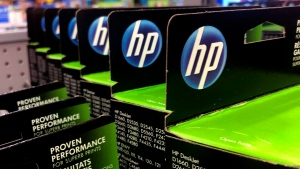 This Aug. 15, 2019, photo shows the HP logo on Hewlett-Packard printer ink cartridges at a store in Manchester, N.H. THE CANADIAN PRESS/AP/Charles Krupa