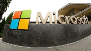 FILE - This July 3, 2014, file photo, shows the Microsoft Corp. logo outside the Microsoft Visitor Center in Redmond, Wash. Microsoft says hackers linked to the Iranian government have targeted a U.S. presidential campaign, as well as government officials, media targets and prominent ex-patriate Iranians. (AP Photo Ted S. Warren, File)