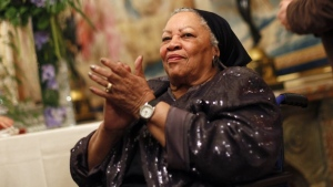 "FILE - In this Sept. 21, 2012, file photo, U.S. novelist Toni Morrison applauds as she attends the America Festival at the U.S. embassy, in Paris. A book of Toni Morrison quotations is coming out in December 2019. ""The Measure of Our Lives: A Gathering of Wisdom"" will draw from her whole body of work, including such celebrated novels as ""Beloved"" and ""Song of Solomon."" The foreword is by Zadie Smith, adapted from a tribute she wrote soon after the Nobel laureate died in August 2019 at age 88. (AP Photo/Thibault Camus, File)"