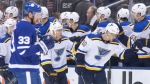 St. Louis Blues centre Brayden Schenn (10) celebrates scoring a goal against the Toronto Maple Leafs during second period NHL hockey action in Toronto on Monday, October 7, 2019. THE CANADIAN PRESS/Chris Young