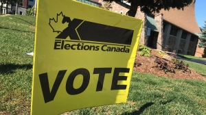An election vote sign seen here in Waterloo on Oct. 8, 2019. (Dan Lauckner / CTV Kitchener)