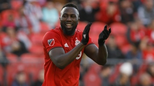 Toronto FC forward Jozy Altidore (17) reacts after a shot on goal during second half of MLS soccer action against the Columbus Crew SC, in Toronto, Sunday, Oct. 6, 2019. Toronto FC will have an early start to the MLS playoffs, with its first-round match against visiting D.C. United kicking off at noon local time on Oct. 19. THE CANADIAN PRESS/ Cole Burston