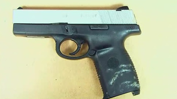 A Smith and Wesson semi-automatic handgun seized in Peel Region is shown. (PRP)
