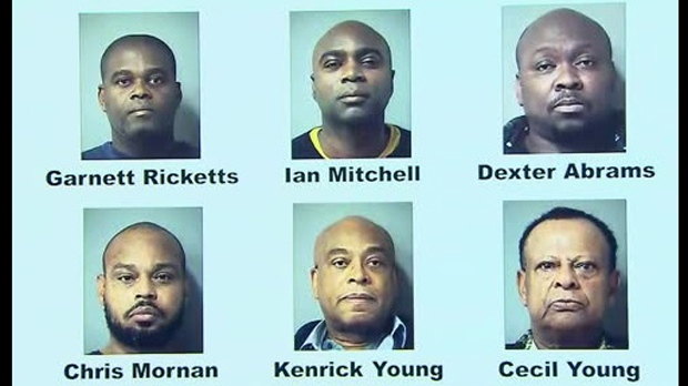 Six men charged in a lengthy armed robbery investigation are shown in a Peel Regional Police handout.