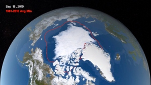 This image from video provided by NASA shows the likely 2019 minimum extent of ice in the Arctic Sea on Sept. 18, 2019, compared with the average minimum from 1981-2010. Canadian research is part of a massive global project that has found billions of people are at risk as climate change damages natural systems around the world. THE CANADIAN PRESS/Trent Schindler/NASA via AP