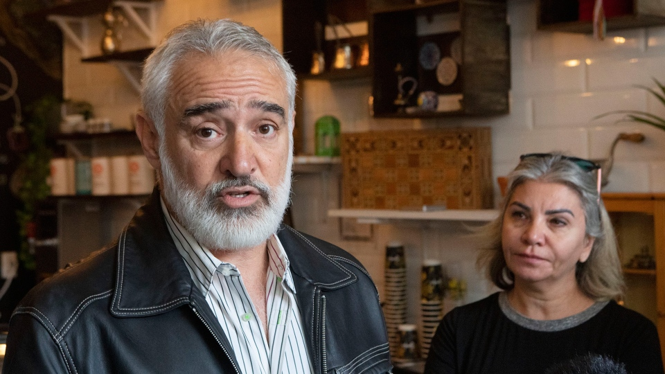 Husam Alsoufi (left) and Shahnaz Alsoufi speak to the media in their restaurant Soufis in Toronto on Thursday October 10, 2019. A Syrian restaurant in downtown Toronto that closed after its owners said they received hate messages and death threats will reopen tomorrow. THE CANADIAN PRESS/Chris Young
