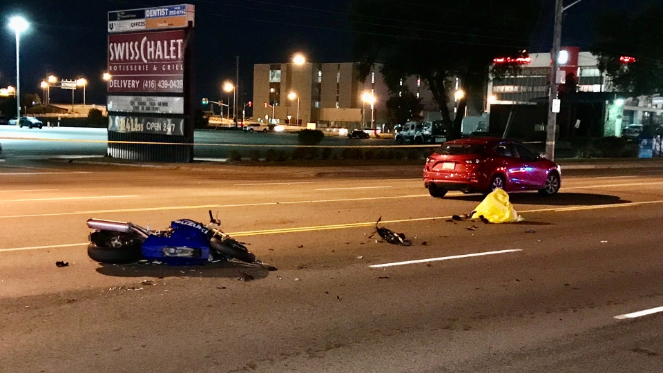 A motorcyclist has serious head injuries after a crash on The Queensway. (Michael Nguyen/ CP24)