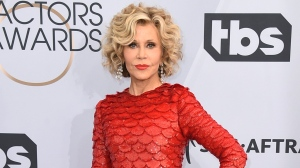 FILE - This Jan. 27, 2019 file photo shows Jane Fonda at the 25th annual Screen Actors Guild Awards in Los Angeles. Fonda was arrested at the U.S. Capitol on Friday, Oct. 11, while peacefully protesting climate change. (Photo by Jordan Strauss/Invision/AP, File)