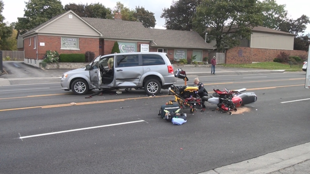 Male motorcyclist critically injured after two-vehicle collision in Oshawa