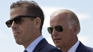 Hunter and Joe Biden. Photographer: Visar Kryeziu/AP