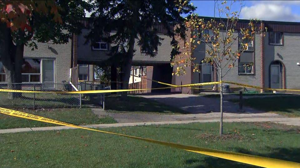 The scene of a fatal shooting in Etobicoke is seen. (CP24)