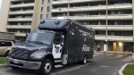 A Forensic Identification Services vehicle is shown at the scene of a homicide investigation at an apartment building in Scarborough on Sept. 22, 2019. (CTV News Toronto / Carol Charles)