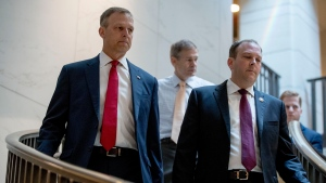 Republican lawmakers, from left, Rep. Scott Perry, R-Pa., Rep. Jim Jordan, R-Ohio, ranking member of the Committee on Oversight Reform, and Rep. Lee Zeldin R-N.Y., arrive for a closed door meeting on Capitol Hill in Washington, Monday, Oct. 14, 2019, where former White House advisor on Russia, Fiona Hill, is scheduled to testify before congressional lawmakers as part of the House impeachment inquiry into President Donald Trump. (AP Photo/Andrew Harnik)
