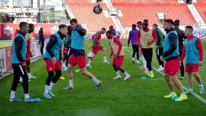 Members of Canada's men's soccer team practice at BMO Field in Toronto on Monday, October 14, 2019. Canada looks to end a 34-year, 17-match winless streak against the U.S. when the two teams meet Tuesday at BMO Field in CONCACAF Nations League play. THE CANADIAN PRESS/Neil Davidson