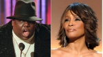This combination photo shows Notorious B.I.G., who won rap artist and rap single of the year, during the annual Billboard Music Awards in New York on Dec. 6, 1995, left, and singer Whitney Houston at the BET Honors in Washington on Jan. 17, 2009. Houston and the Notorious B.I.G. are among the 16 acts nominated for the Rock and Roll Hall of Fame's 2020 class. (AP Photo)