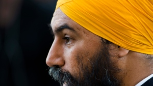 NDP leader Jagmeet Singh speaks to the media during a campaign stop in Toronto on Tuesday, October 15, 2019. THE CANADIAN PRESS/Nathan Denette