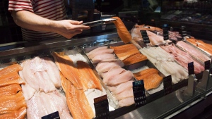A seafood counter is shown at a store in Toronto on Thursday, May 3, 2018. A new study found 61 per cent of seafood products tested at Montreal grocery stores and restaurants were mislabelled. THE CANADIAN PRESS/Nathan Denette