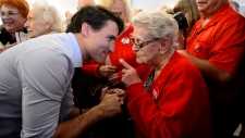 Liberal Leader Justin Trudeau makes a campaign stop at the Royal Canadian Legion in Greenfield Park in Montreal on Wednesday, Oct. 16, 2019. THE CANADIAN PRESS/Sean Kilpatrick