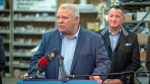 Ontario Premier Doug Ford makes an announcement on infrastructure at Bowman Electric in Kenora, Ontario on Wednesday, October 16, 2019. THE CANADIAN PRESS/