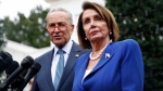 House Speaker Nancy Pelosi of Calif., right, speaks with members of the media alongside Senate Minority Leader Sen. Chuck Schumer of N.Y., outside of the West Wing of the White House after a meeting with President Donald Trump, Wednesday, Oct. 16, 2019, in Washington. (AP Photo/Patrick Semansky)