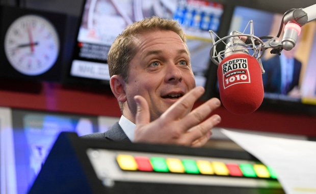 Conservative Leader Andrew Scheer participates in a radio interview in Toronto, Thursday October 17, 2019. THE CANADIAN PRESS/Adrian Wyld