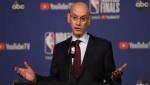 FILE - In this May 30, 2019, file photo, NBA Commissioner Adam Silver holds a news conference before Game 1 of basketball's NBA Finals between the Golden State Warriors and the Toronto Raptors in Toronto. (Frank Gunn/The Canadian Press via AP, File)